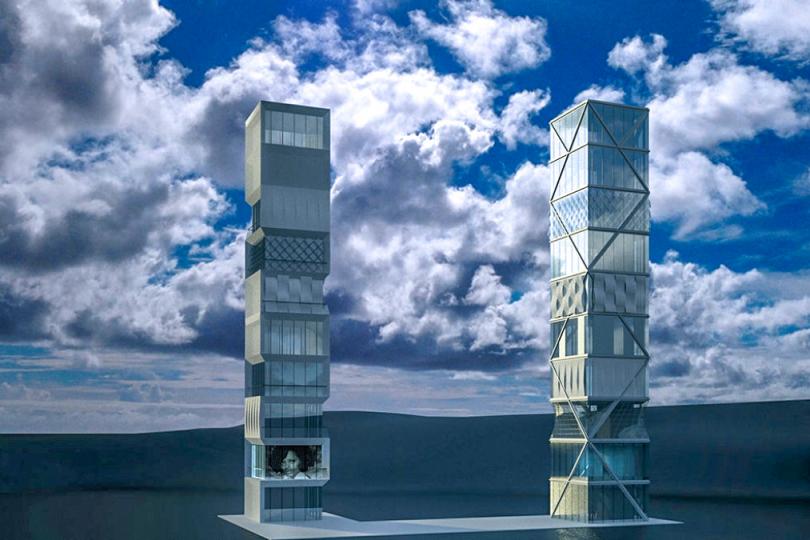 Foto: Erstes adaptives Hochhaus der Welt - © Visualisierung: Institut für Leichtbau Entwerfen und Konstruieren (ILEK)
